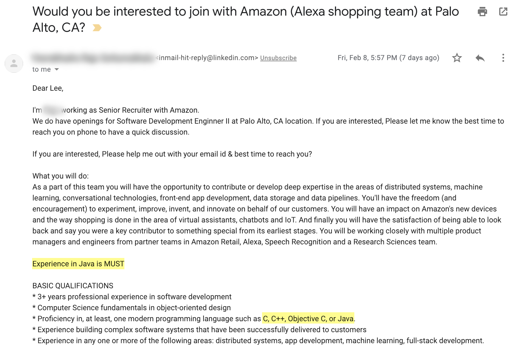 Amazon Recruiter